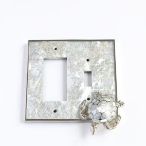 Century Toggle/Rocker Receptacle Switchplate w/ Sea Turtle - White Mother of Pearl/Polished Nickel
