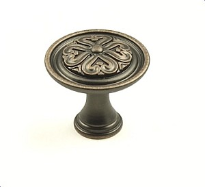 Century Iris 1 3/16 Inch Cabinet Knob in Antique Copper
