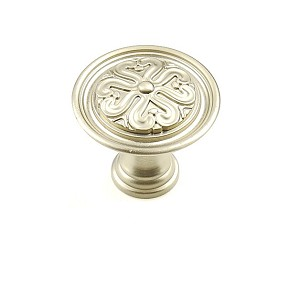 Century Iris 1 3/8 Inch Cabinet Knob in Dull Satin Nickel