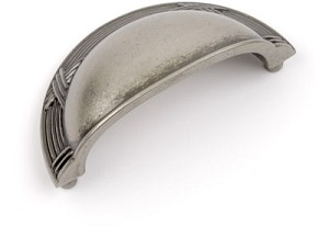 Dynasty Ribbon & Reed 3 Inch Bin Pull - Antique Nickel/Pewter