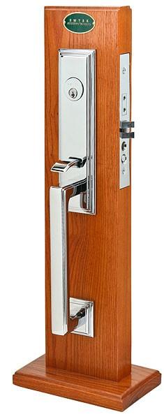 Emtek door hardware emtek manhattan mortise entry handleset for Exterior door handle and lock set