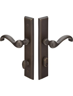 Emtek Configuration 1 Sandcast Rectangular 2X10 Multi Point Lock Trim Only