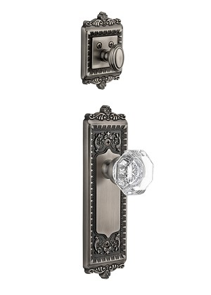 Grandeur Windsor Handleset with Chambord Knob - (Interior Half Only, with Deadbolt)
