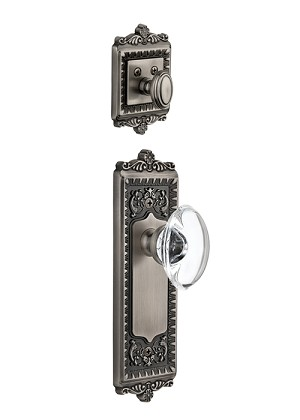 Grandeur Windsor Handleset with Provence Knob - (Interior Half Only, with Deadbolt)