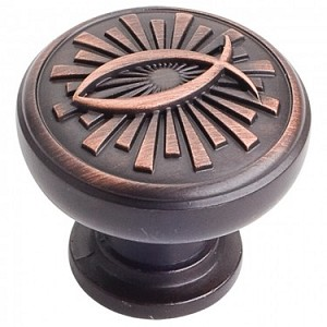 Hardware Resources Curio 1-3/8 Inch Cabinet Knob - Brushed Oil-Rubbed Bronze