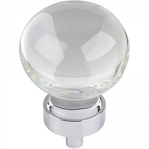 Hardware Resources Harlow 1-3/8 Inch Glass Sphere Cabinet Knob - Polished Chrome