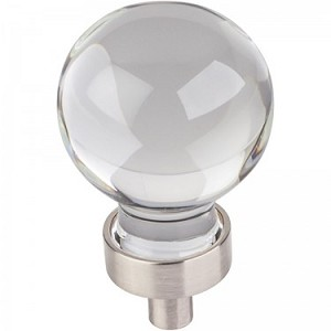 Hardware Resources Harlow 1-1/16 Inch Glass Sphere Cabinet Knob - Satin Nickel