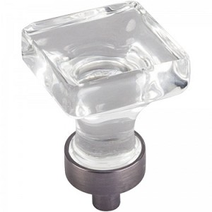 Hardware Resources Harlow 1 Inch Glass Square Cabinet Knob - Brushed Pewter