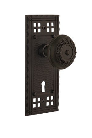 Nostalgic Warehouse Craftsman Plate and Meadows Knob - Mortise Lock