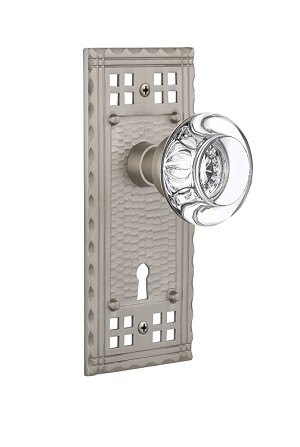 Nostalgic Warehouse Craftsman Plate with Round Clear Crystal Knob - Mortise Lock
