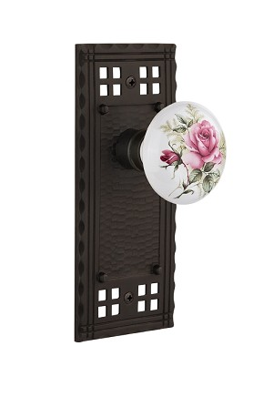 Nostalgic Warehouse Craftsman Plate with White Rose Porcelain Knob