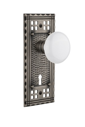 Nostalgic Warehouse Craftsman Plate and White Porcelain Knob - Mortise Lock