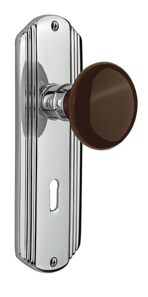 Nostalgic Warehouse Deco Plate with Brown Porcelain Knob - Mortise Lock