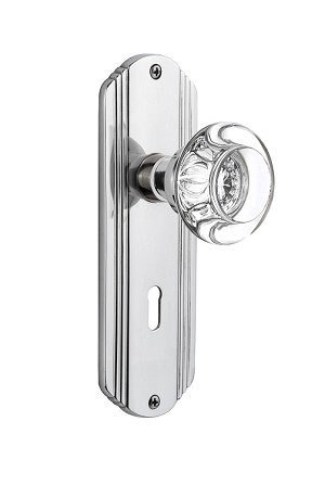 Nostalgic Warehouse Deco Plate with Round Crystal Knob - Mortise Lock