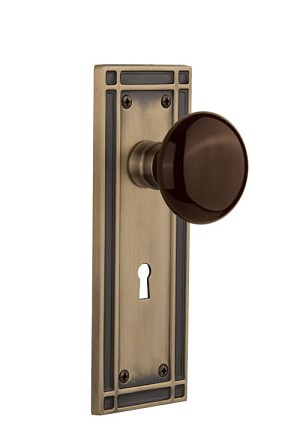 Nostalgic Warehouse Mission Plate with Brown Porcelain Knob - Mortise Lock