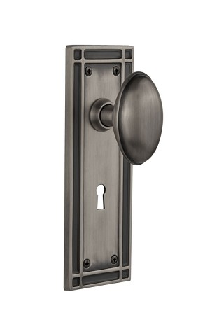 Nostalgic Warehouse Mission Plate with Homestead Knob - Mortise Lock