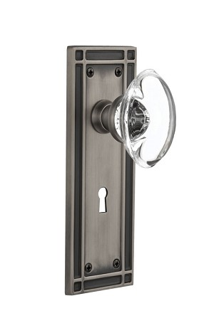 Nostalgic Warehouse Mission Plate with Oval Clear Crystal Knob - Mortise Lock