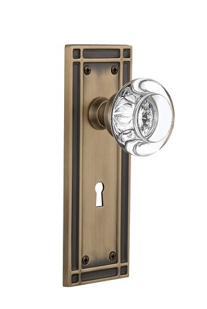 Nostalgic Warehouse Mission Plate with Round Clear Crystal Knob - Mortise Lock