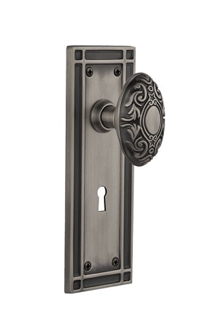 Nostalgic Warehouse Mission Plate with Victorian Knob - Mortise Lock