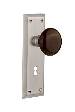 Nostalgic Warehouse New York Plate with Brown Porcelain Knob - Mortise Lock