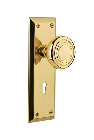 Nostalgic Warehouse New York Plate with Deco Knob - Mortise Lock
