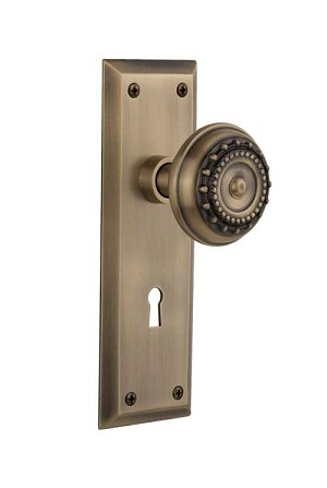 Nostalgic Warehouse New York Plate with Meadows Knob - Mortise Lock