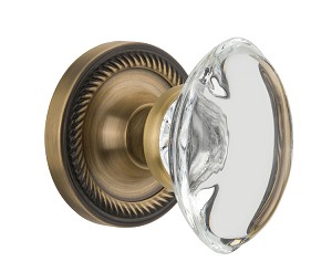 Nostalgic Warehouse Rope Rosette with Oval Clear Crystal Knob - Mortise Lock