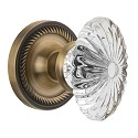 Nostalgic Warehouse Rope Rosette with Oval Fluted Crystal Knob - Mortise Lock