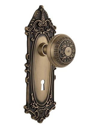 Nostalgic Warehouse Victorian Plate with Egg and Dart Knob - Mortise Lock