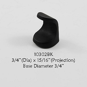 Residential Essentials 10302 Cabinet Knob in Black
