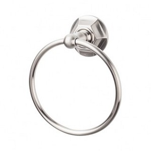 Top Knobs ED5BSNB Edwardian Hex Towel Ring - Brushed Satin Nickel