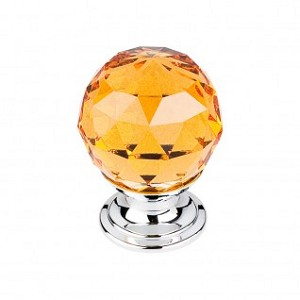 Top Knobs TK111PC Amber Crystal Knob 1 1/8 Inch-Polished Chrome