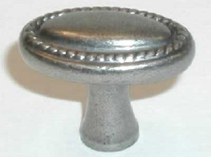 Top Knobs Somerset 1 1/4 Inch Oval Rope Knob - Antique Pewter