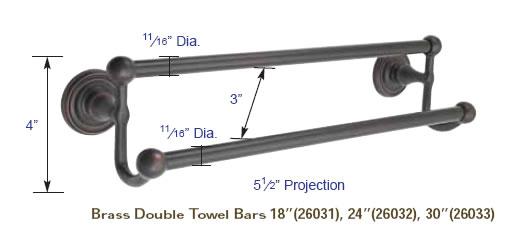 Emtek Bathroom Accessories Emtek Solid Brass 24 Inch Double Towel Bar