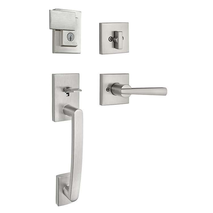 Baldwin Prestige Series Spyglass Entrance Handleset Satin Nickel