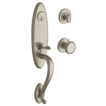 Baldwin Contemporary Knob with 056 Satin Nickel with Lifetime Finish; creating a surface highly resistant to the effects of weather and normal wear and tear. Baldwin's soft satin nickel finish, warranted beautiful for as long as you own your home.
