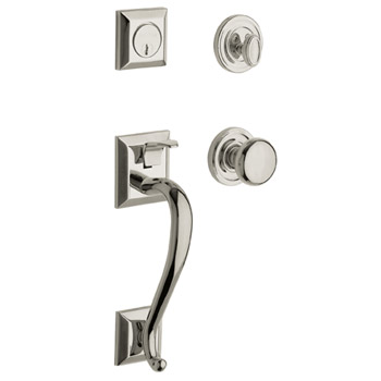 Baldwin Contemporary Knob with 055 Polished Nickel with Lifetime Finish. Nickel plated brass with the Baldwin Lifetime Finish; creating a surface highly resistant to the effects of weather and normal wear and tear. High gloss nickel finish, warranted beautiful for as long as you own your home.