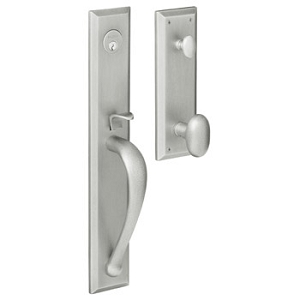 Baldwin Contemporary Knob with 264 Satin Chrome. Satin silver finish, polished, and plated on brass.