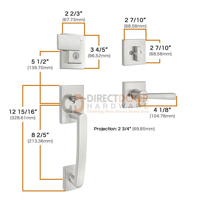 Baldwin Prestige Series Spyglass Entrance Handleset with Spyglass Lever Measurements