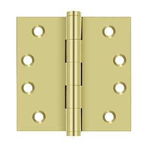 Deltana 4 x 4 Inch Solid Brass Square Corner Standard Hinge - Sold Each