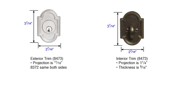 Emtek #14 Style Single Cylinder Deadbolt Measurements