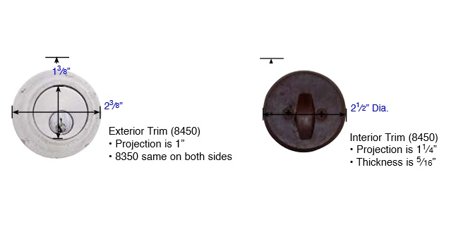 Emtek Sandcast Bronze Regular Style Single Cylinder Deadbolt Measurements