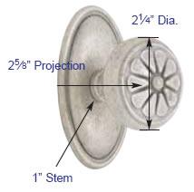 Emtek Lost Wax Petal Knob Measurements