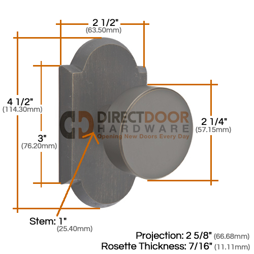 Emtek Round Door Knob with Style 1  Rosette Measurements