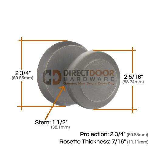 Emtek Butte Sandcast Door Knob with Style 2 Rosette Measurements