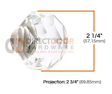 Emtek Diamond Crystal Knobs with Threaded Spindle Measurements