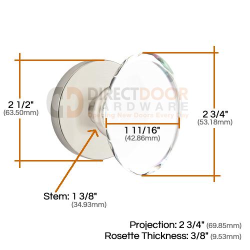 Emtek Hampton Door Knob with Disk Rosette Measurements