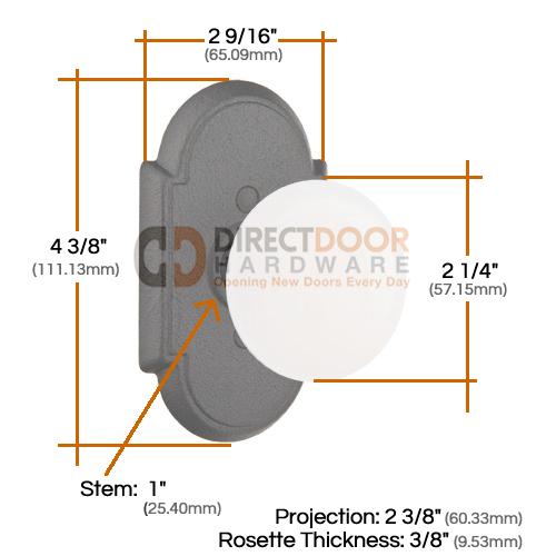Emtek Madison IVory Knob with Wrought Steel Style #1 Rosette Measurements