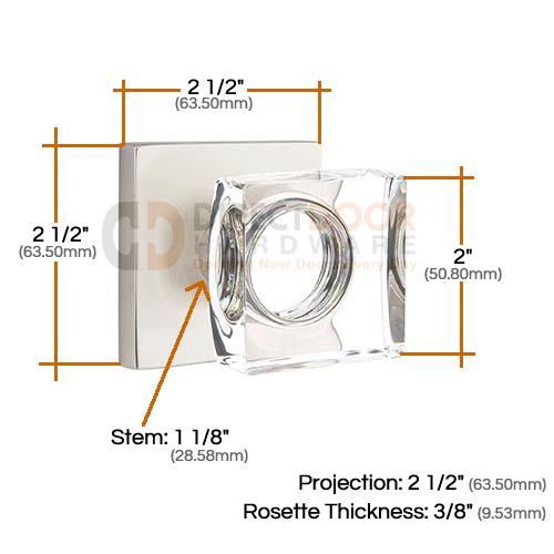 Emtek Square Crystal Knob with Square Rosette Measurements