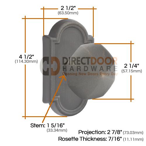 Emtek Lost Wax Octagon Knob with Style 11 Rosette Measurements
